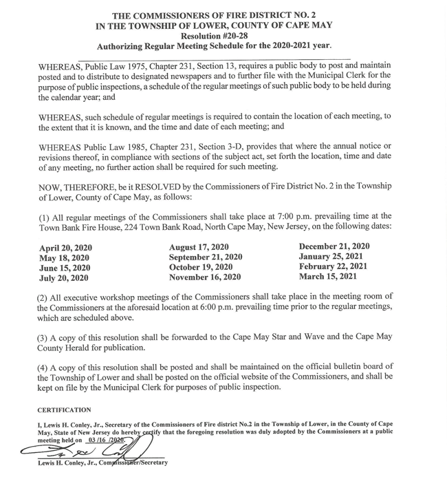 Lower-Twp.-Fire-District-2-Resolution-20-28-Authorizing-Meeting-Schedule-03-16-2020-Signed